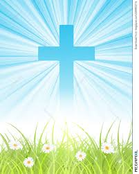 cross on blue sky with sun rays and green lawn illustration