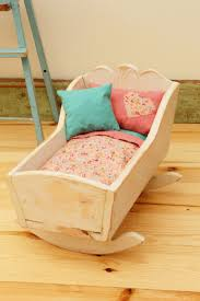 Doll Crib Bedding Wooden Doll Cradle Refinished Shabby Chic Vintage Shabby Chic