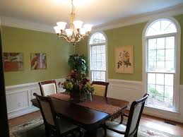 dining room color ideas chandelier high window white roof