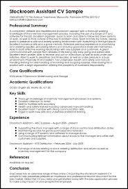 stockroom assistant cv sample myperfectcv