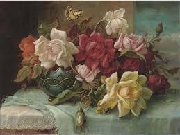 roses in an ornamental vase by a casement by hans zatzka on artnet