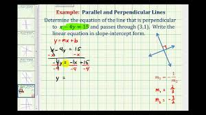 ex 2 find the equation of a line perpendicular to a given line