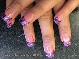 acrylic nails purple glitter tips part 1 youtube