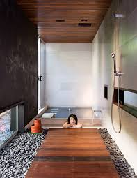 at home in the modern world shower fixtures and wood slats