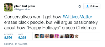 if you get mad when say happy holidays but not all lives