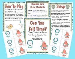 can you tell time math center printable worksheet with answer key