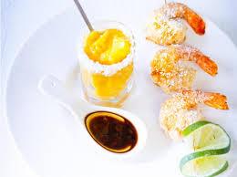 cuisine crevette recette crevettes à la noix de coco et sorbet à la mangue