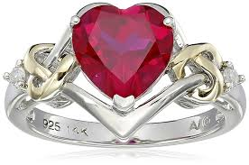 ruby red rings images Sterling silver and 14k yellow gold diamond and heart jpg