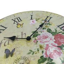 charming french country roses butterflies silent wall clock