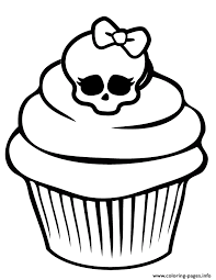 monster skullette cupcake coloring pages printable