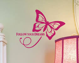 vinyl wall decal words follow your dreams butterfly decor