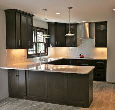 Dark Kitchen Cabinets With Light Granite Decorating Artistic Fasade Backsplash With White Kitchen Cabinets