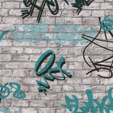 tapeten für jugendzimmer tapete jugendzimmer spirit mauer graffiti weiß grau türkis
