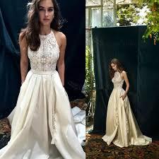 satin wedding dresses halter sleeveless sweep ivory satin wedding dress
