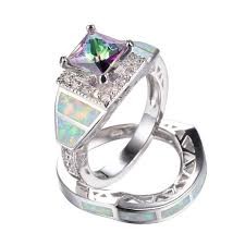 wedding rings sets for women mysterious rainbow zircon white opal wedding ring set for