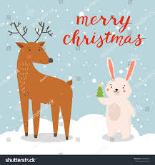 Christmas Tree Sing Rabbit Christmas Tree Deer Christmas Illustration Stock Vector