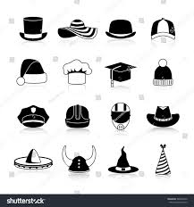 cowboy hat halloween hats caps black icons set motorcycle stock vector 384604210