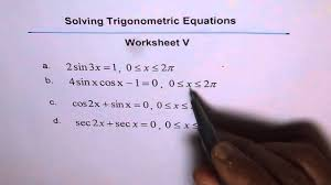 trigonometric equations double angles worksheet 5