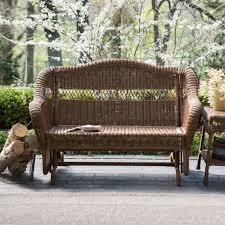 Patio Furniture Wicker Resin - walnut resin wicker 2 seat outdoor glider bench patio arm chair