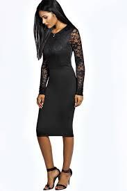 black long sleeve midi bodycon dress good dresses