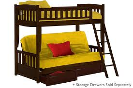 Kids Wood Futon Bunk Bed Espresso Cinnamon Bunk The Futon Shop - Futon bunk bed frame