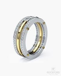 wedding bands for with diamonds brewer mens two tone gold wedding band with 1 15 ct diamonds