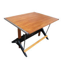 Mayline Oak Drafting Table Midcentury Retro Style Modern Architectural Vintage Furniture From