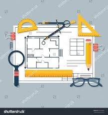 architectural blueprints drawing tools workplace architect stock
