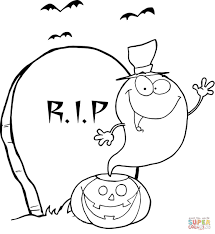 ghost waving from pumpkin near tombstone and bats coloring page