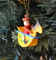 ornament child wooden rocking collectible