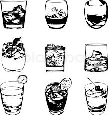 cocktails set vector glasses collection drinking cocktails