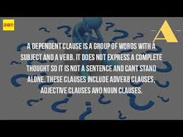 what is an example of a dependent clause youtube