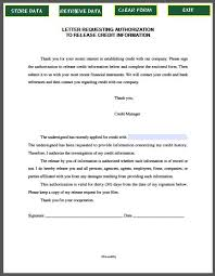Credit Release Form Letter Requesting Authorization To Release Credit Information