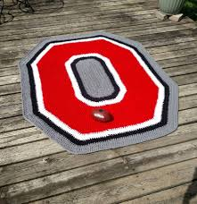 Osu Umbrellas by Large Ohio State Buckeyes Large Crochet Area Rug Handmade