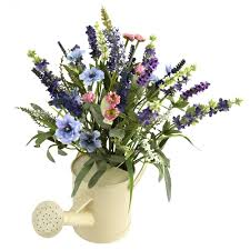 silk flower lavender silk flower arrangement with watering can artificial
