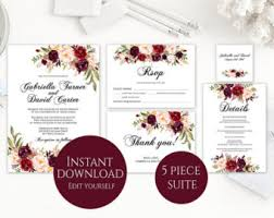 wedding invitations packages wedding invitation kits etsy