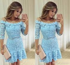 beautiful lace short mini prom dresses 2017 sky blue color