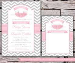 tutu cute baby shower invitation and thank you card chevron