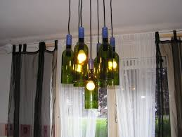 Blue Bottle Chandelier by Home Lighting Ideas Expressed With Wine Bottle Crafts