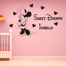 online get cheap wall sticked minnie aliexpress com alibaba group personalized name kids room decoration decals customize minnie mouse sweet dreams princess room wall sticke cb 6