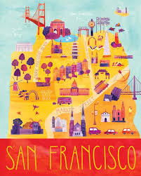san francisco map items similar to illustrated san francisco map 16 x 20 digital
