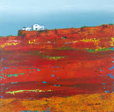 Contemporary Landscape Painting by Cristina Del Sol Work Detail Red Sandstone Cliffs Ii Abstract