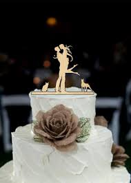 wedding cake topper silhouette couple dog and cat cake topper