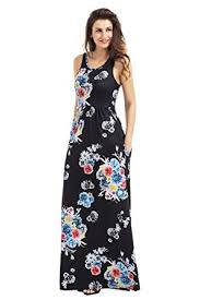 lovezesent women u0027s floral print round neck sleeveless long maxi