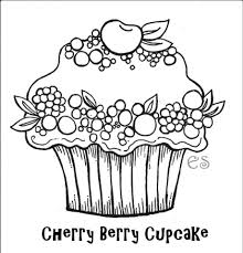 birthday cupcake coloring page free download