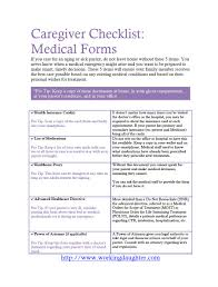 Power Of Attorney Form For Medical free download caregiver medical form checklist working daughter