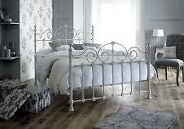 victorian french style king size 5ft cream metal bed frame shabby