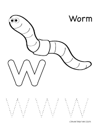 letter w writing and coloring sheet