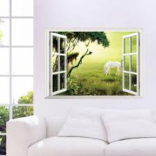 Wall Decal For Living Room 3d Window View Scenery Wall Sticker Living Room Decals Removable
