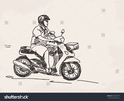 sketch man riding scooter hand drawn stock vector 238022407